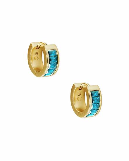 Jack Vintage Gold Huggie Earrings In Teal Crystal