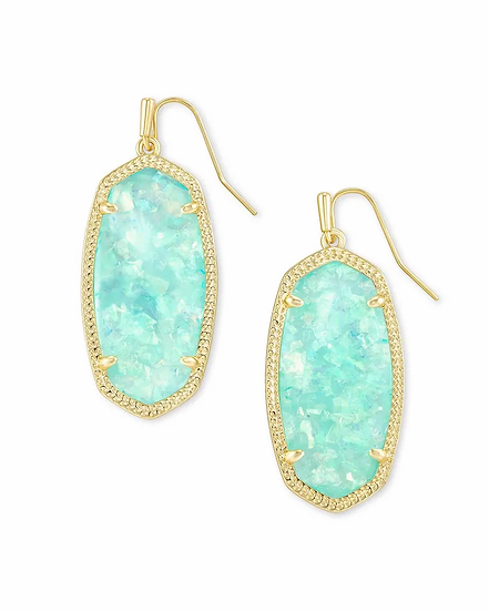 Elle Gold Drop Earrings In Iridescent Mint Illusion