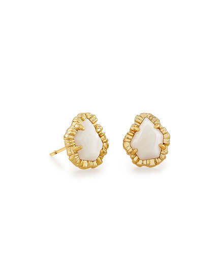 Tessa Gold Small Stud Earring In White Mussel