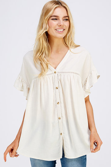 Natural Blouse With Front Buttons