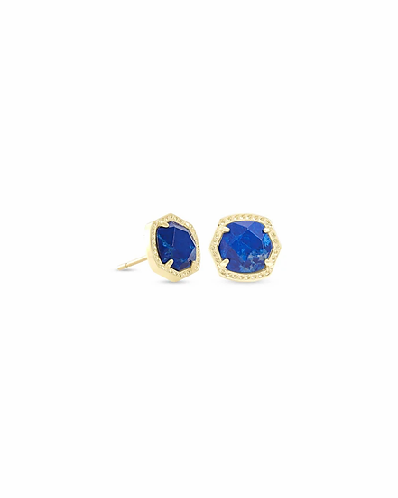 Davie Gold Stud Earrings In Cobalt Howlite