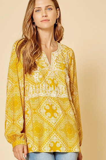 Feeling Carefree Mustard Embroidered Top