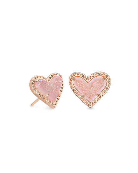 Ari Heart Rose Gold Stud Earrings In Pink Drusy