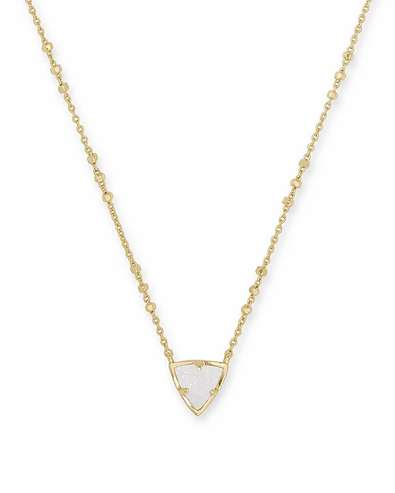 Perry Gold Pendant Necklace In Iridescent Drusy