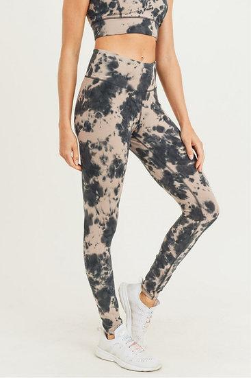 Tie-Dye Cotton Highwaist Leggings - Mushroom/Black