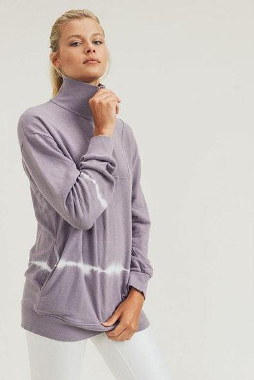 Dusty Lilac Half-Zipper Longline Tie-Dye Pullover