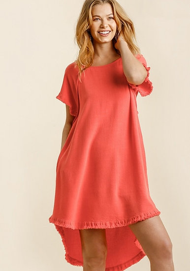 Give Your Love Coral Raw Hem Dress