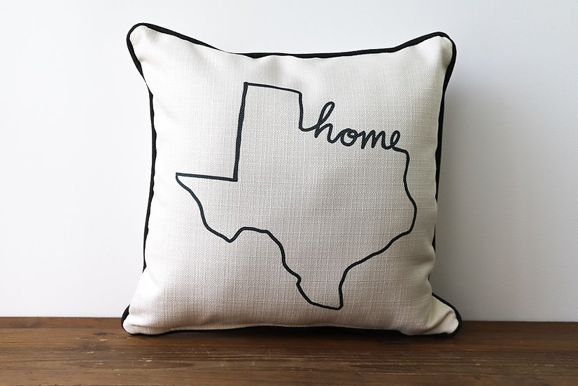 Grey Home State Outline Pillow