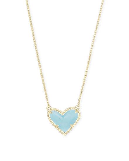 Ari Heart Gold Short Pendant In Light Blue Magnesite