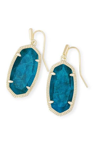 Dani Gold Drop Earrings In Aqua Apatite