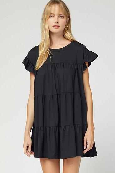 Playful Playlist Black Babydoll Dress