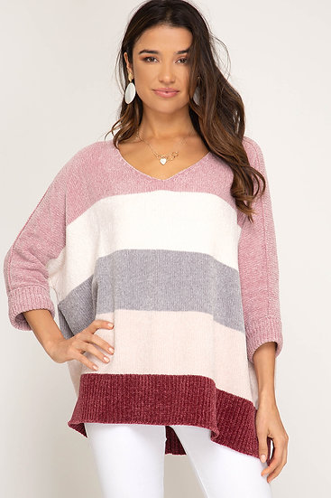 Albany Colorblock Chenille Sweater - Rose/Berry