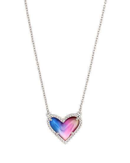 Ari Heart Silver Pendant Necklace In Watercolor Illusion