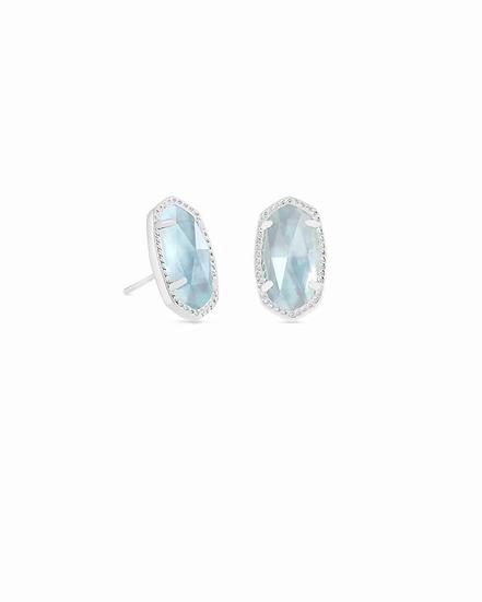 Ellie Silver Stud Earrings In Light Blue Illusion - MARCH
