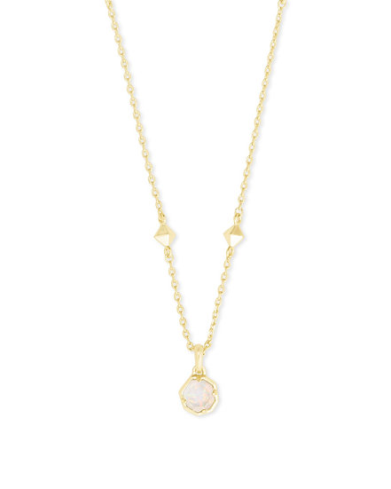 Nola Gold Pendant Necklace In White Opal Illusion