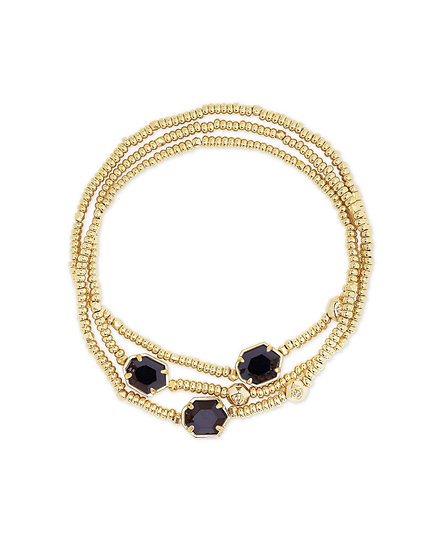 Tomon Gold Stretch Bracelet In Black Obsidian