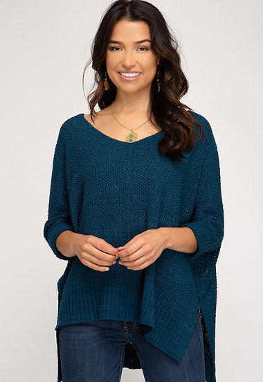 Reasons To Fall Hi Low Knit Sweater - Teal