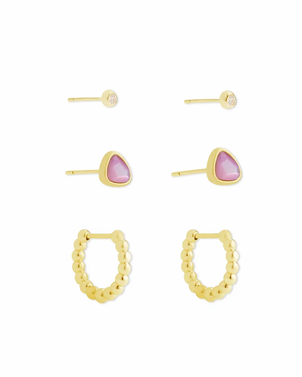 Ivy Gold Huggie & Stud Earrings In Lilac Mother Of Pearl