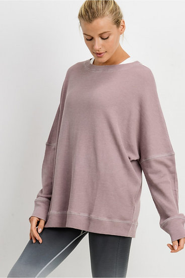 Waffle Ribbed Roundneck Pullover - Dusty Pink