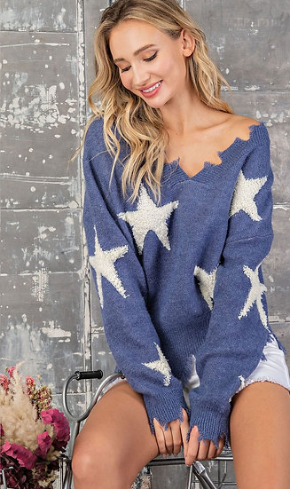A Star Is Born Distressed Sweater - Blue