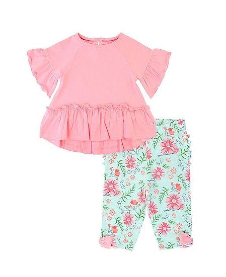 Pink Mia Top W/ Running In Wildflower Bow -Detail Capri Leggings