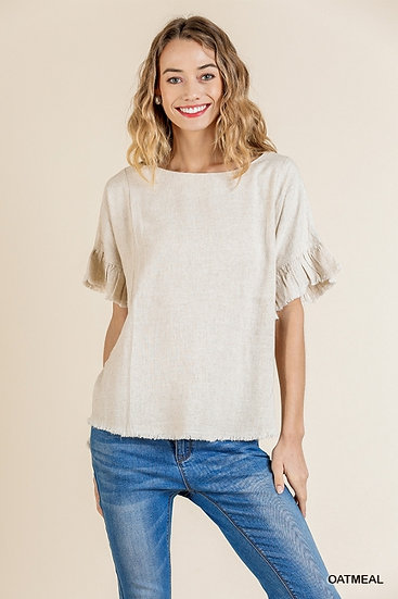 Find You Out Oatmeal Linen Top