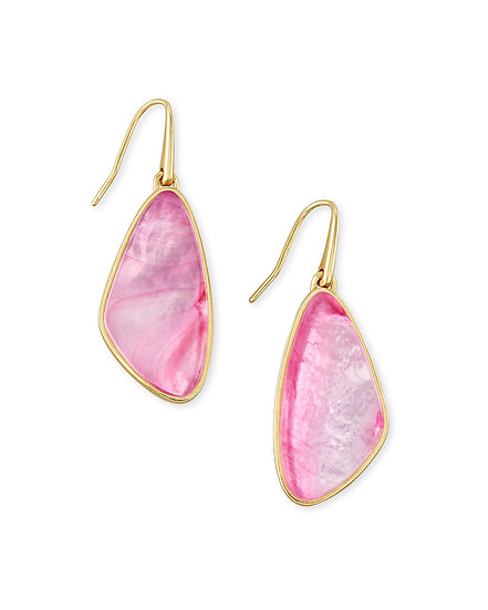 McKenna Small Drop Earring Gold Deep Blush Mother Of Pearl