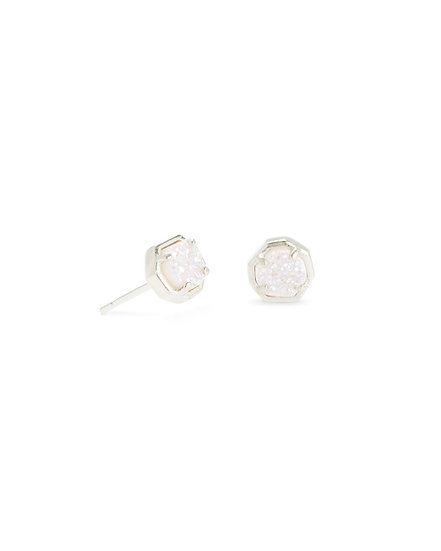 Nola Silver Stud Earring In Iridescent Drusy