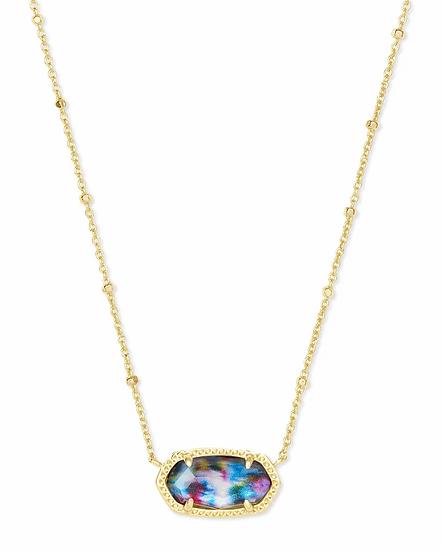 Elisa Gold Satellite Pendant Necklace In Teal Tie Dye Illusion
