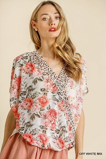 See You Soon Off White Mix Floral / Animal Print Top