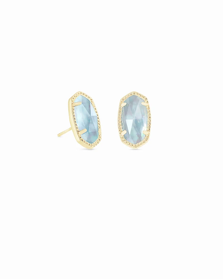 Ellie Gold Stud Earrings In Light Blue Illusion - MARCH