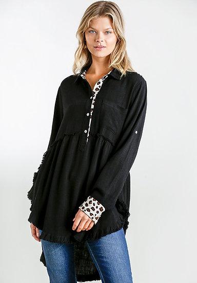 Sassy Leopard Button Tunic - Black
