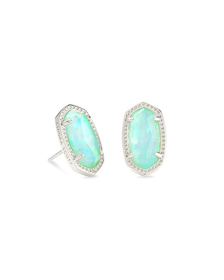 Ellie Silver Stud Earrings In Iridescent Mint Illusion