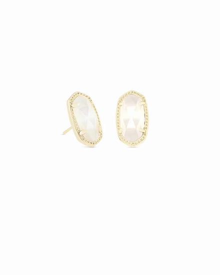 Ellie Gold Stud Earrings In Ivory Pearl - JUNE