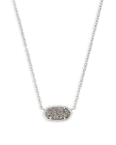 Elisa Silver Pendant Necklace In Platinum Drusy