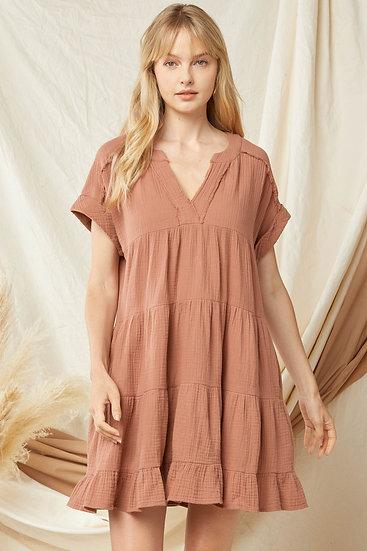 Back To Basics Cinnamon Tiered Dress