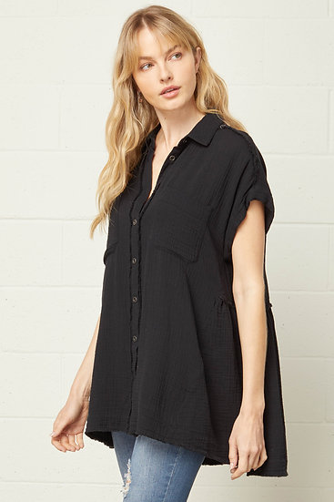 Back To Basics Black Button Up Top