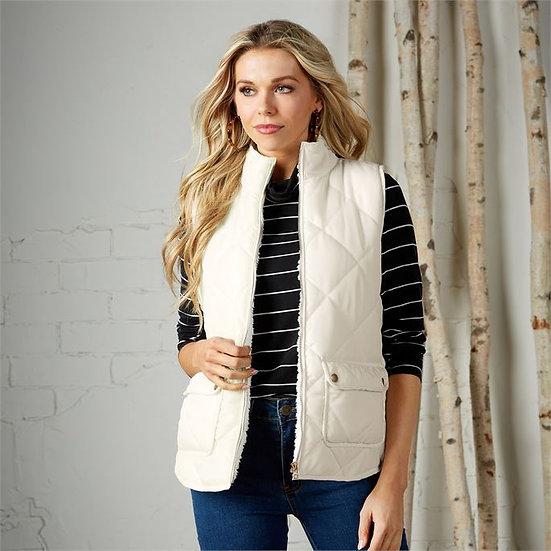 Cream Sherpa Vest