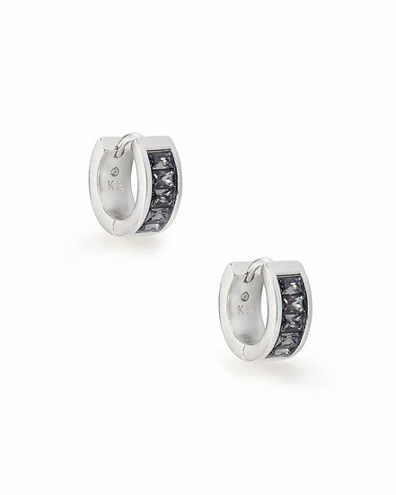 Jack Silver Huggie Earrings In Charcoal Gray Crystal