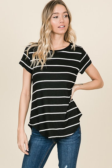 Easy Example Black Striped Top