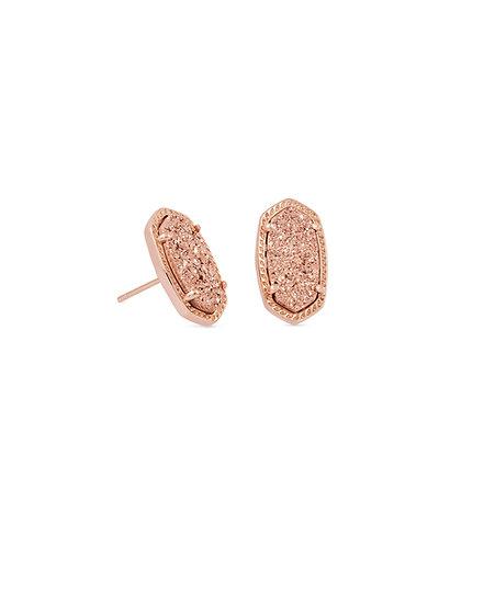 Ellie Rose Gold Stud Earrings In Rose Gold Drusy