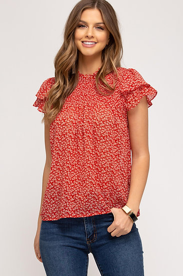 Thinking Out Loud Red Floral Print Top