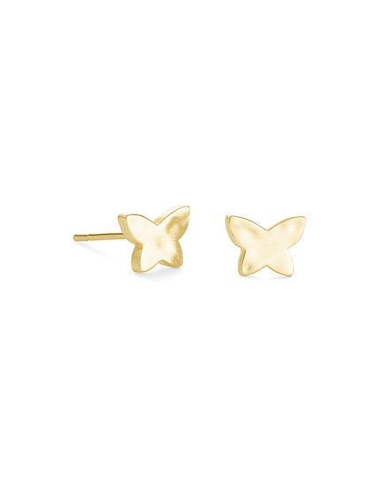 Lillia Butterfly Stud Earring In Gold Metal