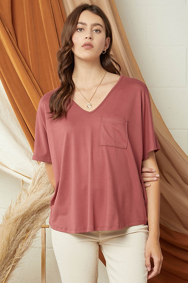 On The Lookout Marsala Pocket Top