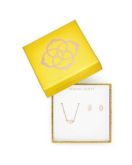 Fern Necklace & Barrett Earrings Gift Set In Rose Gold