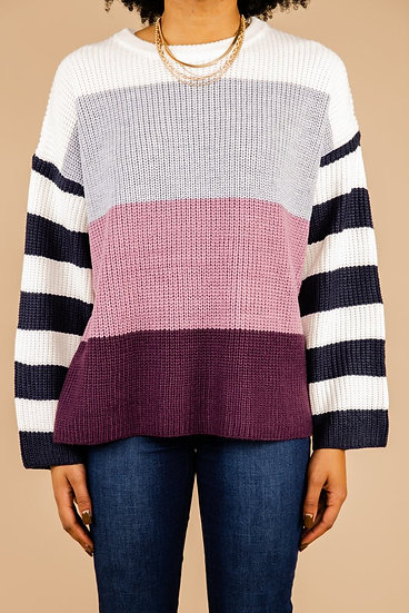 Can't Let You Go Colorblock Sweater - Eggplant