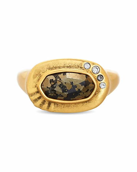 Anna Vintage Gold Band Ring In Black Pyrite