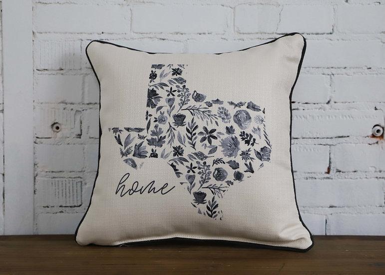 Blue Floral State - Floral Design On Back Pillow