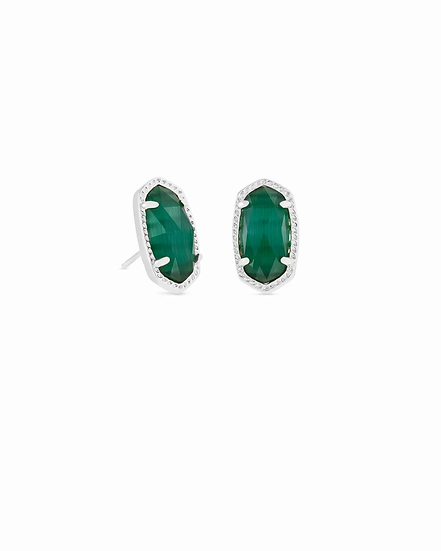 Ellie Silver Stud Earrings In Emerald Cats Eye - MAY