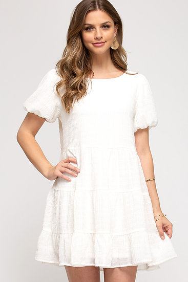 It All Makes Sense White Tiered Dress